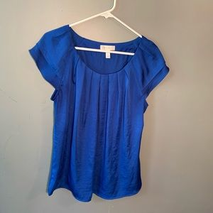Dress Barn Scoop Neck Blouse Pleated Neck Blue
